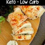 Two Keto Pesto Chicken Rollups, one is sliced. Texts read: Chicken Pesto Rollup, Keto • Low Carb, Mama Bear's Cookbook