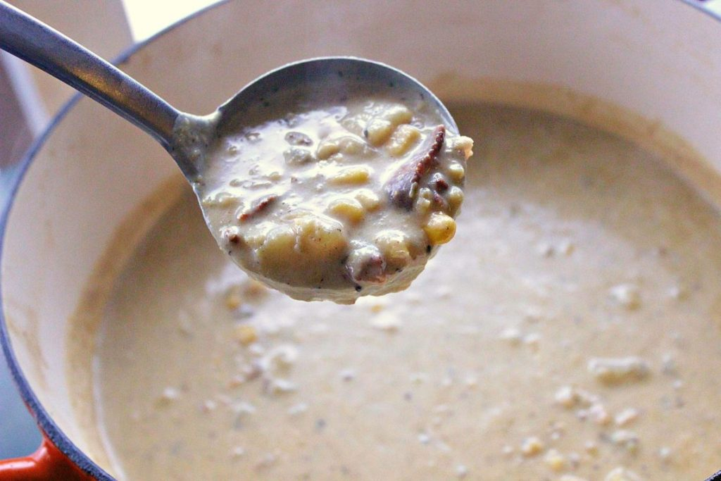 Creamy Bacon Potato Corn Chowder. A luxurious chowder loaded with bacon, corn and creamy potato goodness. Self thickened, this bowl of goodness is 100% delicious.