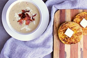 Cauliflower Chowder with Cheddar and Bacon. You won't miss the carbs in this epic cauliflower chowder loaded with cheddar and bacon! A delicious recipe to add to your favourites!