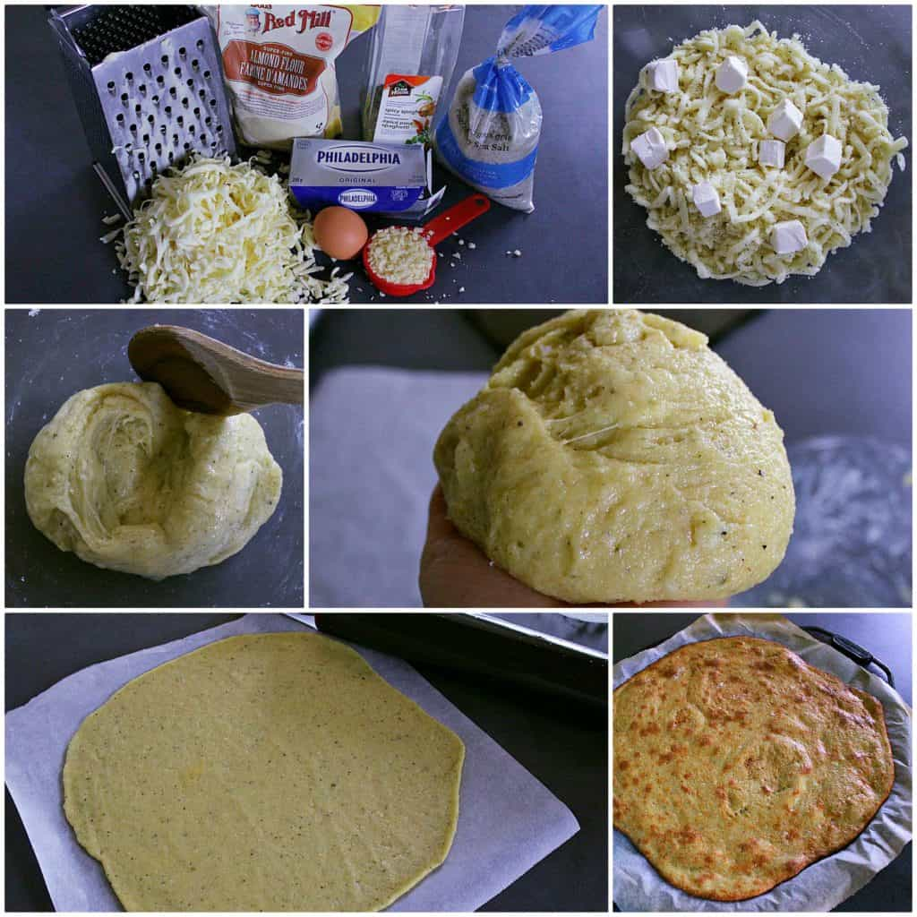 How to make fathead pizza crust - process collage.