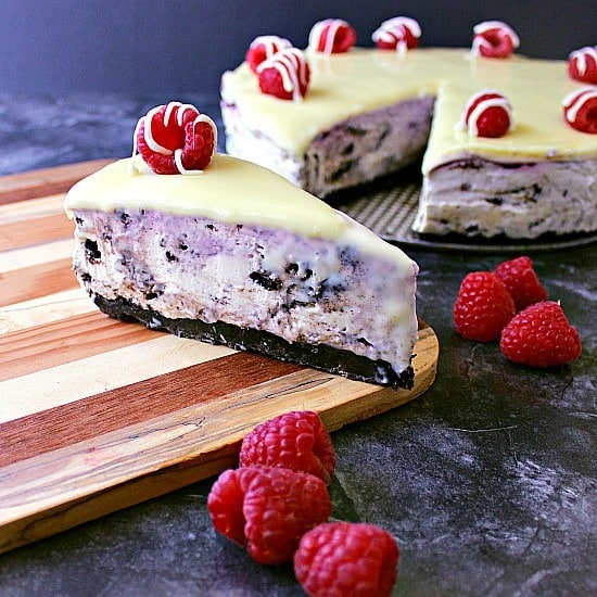 No Bake Oreo White Chocolate Raspberry Cheesecake. It doesn't get much better than this epic no bake Oreo cheesecake with a raspberry swirl and decadent white chocolate ganache.