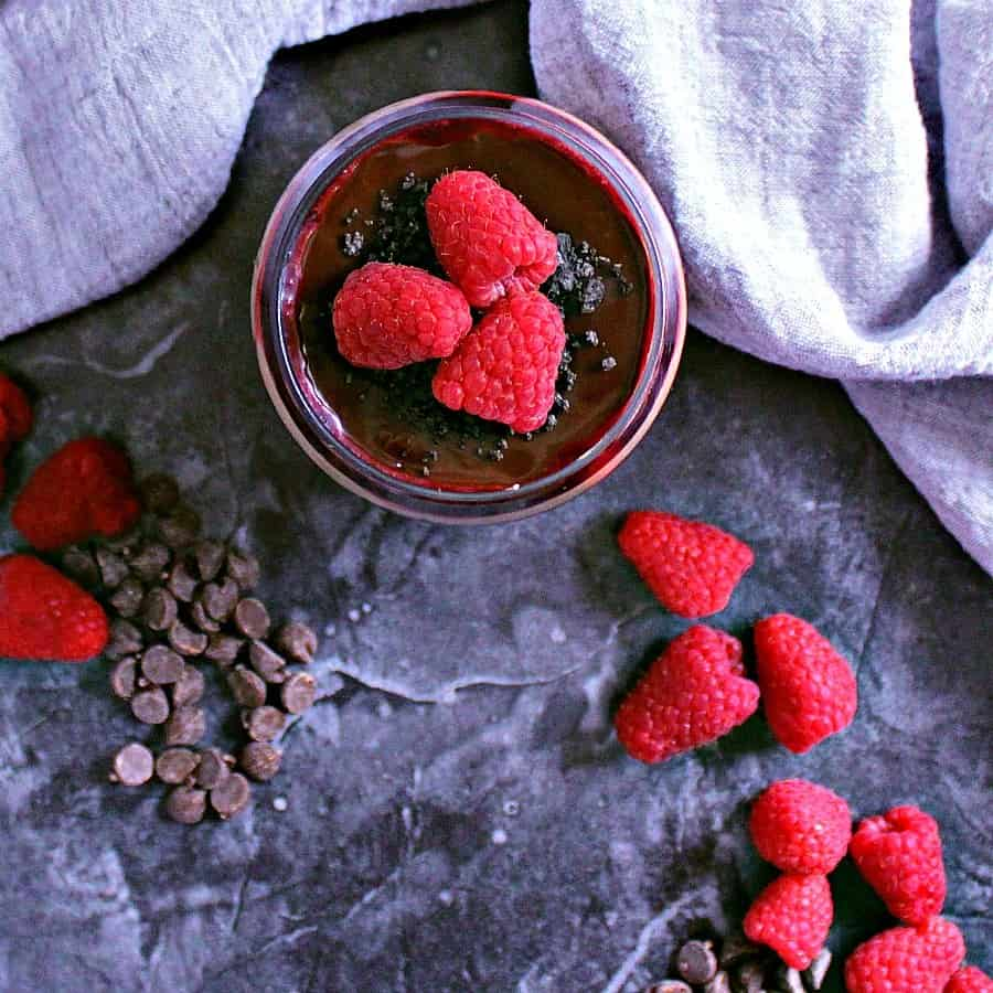 This Chocolate Parfait with Raspberry Sauce and Cheesecake is a romantic dessert made for two with layers of creamy, crunchy and supreme pleasure.
