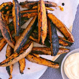 Loaded with spices, brown sugar and olive oil, baked or barbecued to Epic crispyness then dunked in Chipotle Mayo, these Epic Yam Fries are to die for!