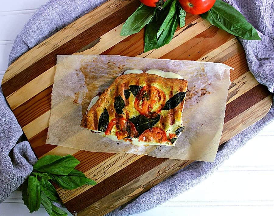 Top of a low carb bbq meatball panini.