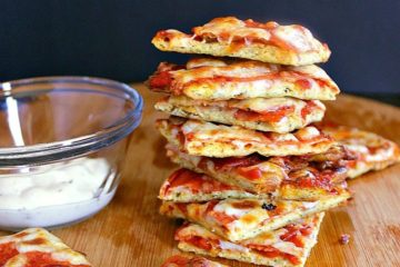 Stack of low carb pizza bites.