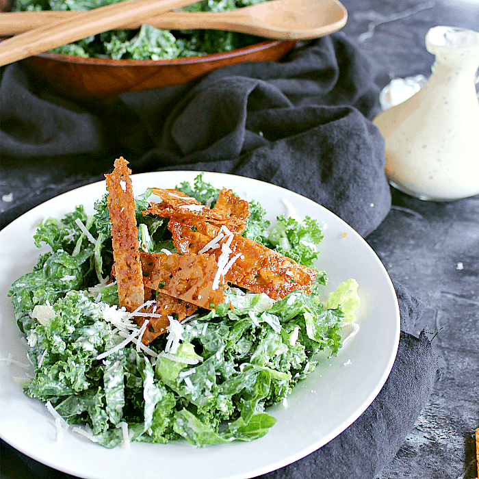 Kale Caesar with Cheese Crisps.