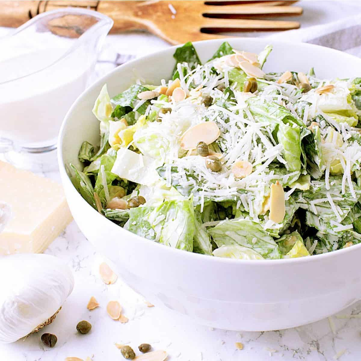 Check out this healthy and delicious Low Carb Caesar Salad with Kale, Romaine and Cheese Crisps for a keto approved version of the traditional caesar salad.