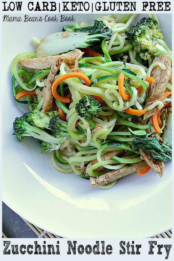 Pin this zucchini noodle stir fry recipe for later!