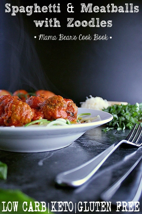 Pin this low carb spaghetti and meatball recipe for later!