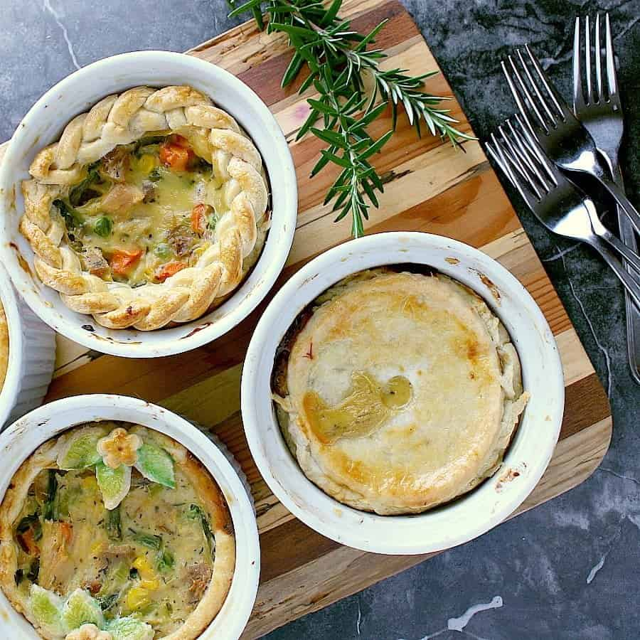 Individual Turkey Pot Pies with different crust toppings.