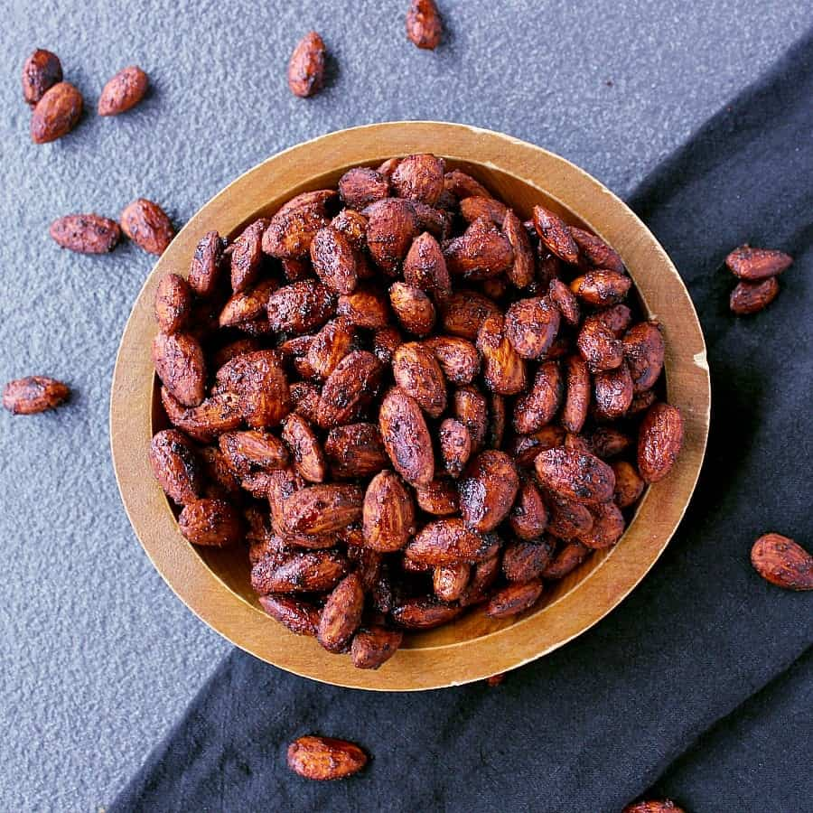 Wooden bowl of BBQ Roasted Low Carb Almonds.