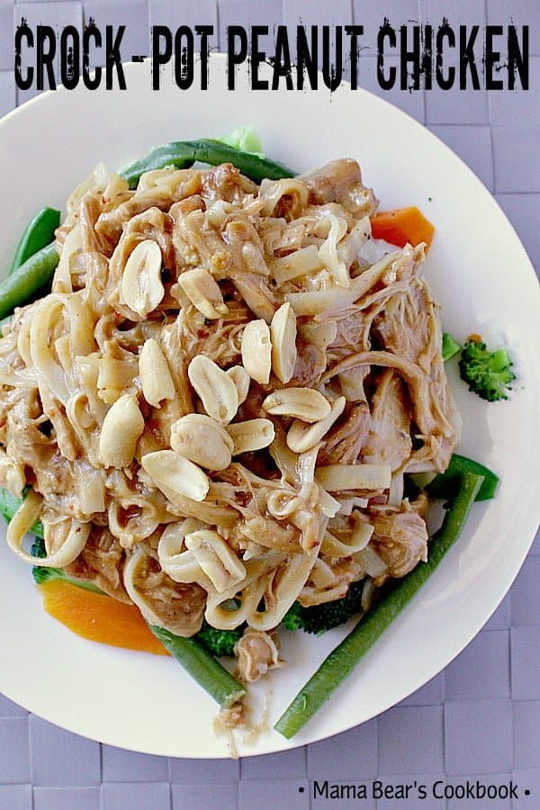 This Crock-Pot Peanut Chicken is straight up delicious! Super peanuty, salty and sweet in all the right ways with the perfect degree of spice. #slowcooker #chicken #peanutchicken #easydinner #mamabearscookbook