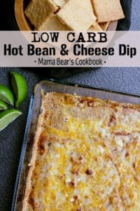 Pin this low carb hot bean and cheese dip for later!