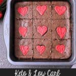 A baking dish with Keto Valentine's Day Brownies. Texts read: Mama Bear's Cookbook, Keto & Low Carb Brownies