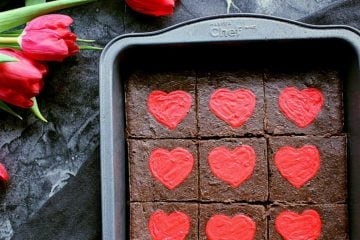 "Keto Valentine's Day brownies in an 8x8"" baking dish."