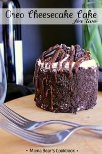 Pin this Mini Oreo Cheesecake Cake for Two recipe for later!