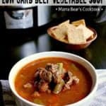 Pin this slow cooker low carb vegetable beef soup recipe for later!