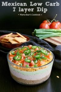 Pin this Mexican Low Carb 7 Layer Dip recipe for later!