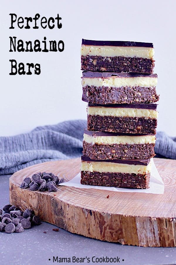 These Perfect Nanaimo bars have three layers of deliciousness that combine to create a bar that's got all the right flavours and textures in one. #dessert #chocolate #bars #mamabearscookbook