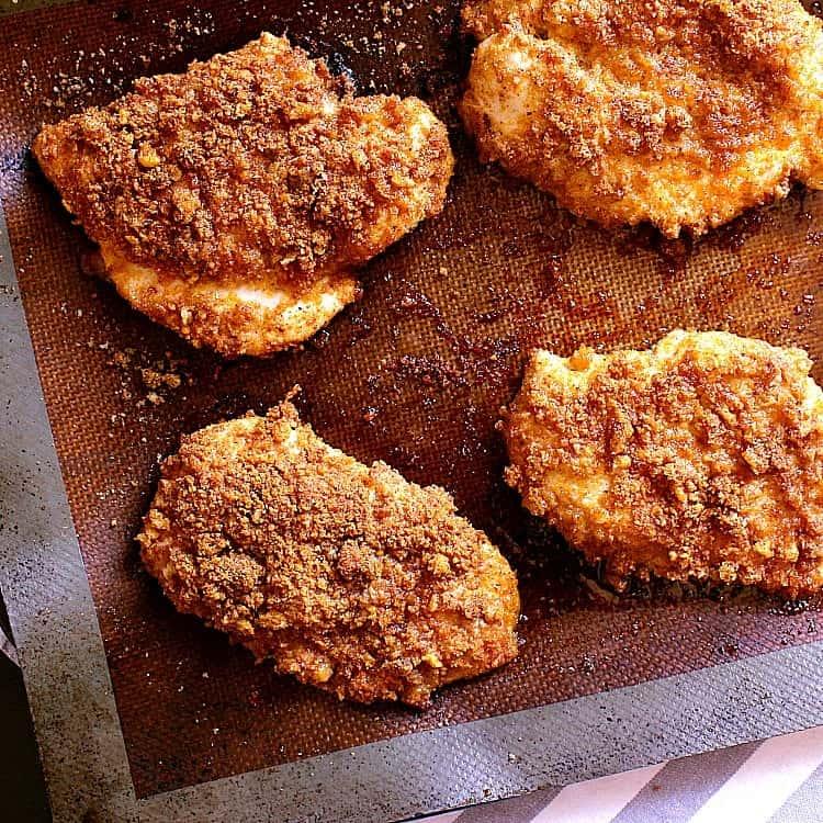 Freshly baked Crispy Keto Chicken Burgers.