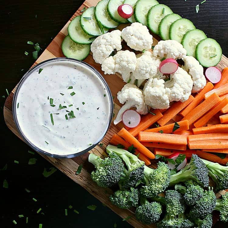 Low Carb Ranch Dressing on a vegetable platter.