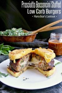 Pin this Prosciutto Bocconcini Stuffed Low Carb Burgers recipe for later!