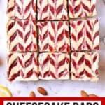 9 Keto strawberry cheesecake bars. Texts read: Mama Bear's Cookbook, Cheesecake Bars, Keto • Low Carb