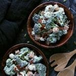 pin this ranch cauliflower broccoli salad with bacon and cheese recipe for later!