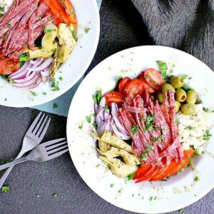 Two salad bowls of Italian Chopped Salad.