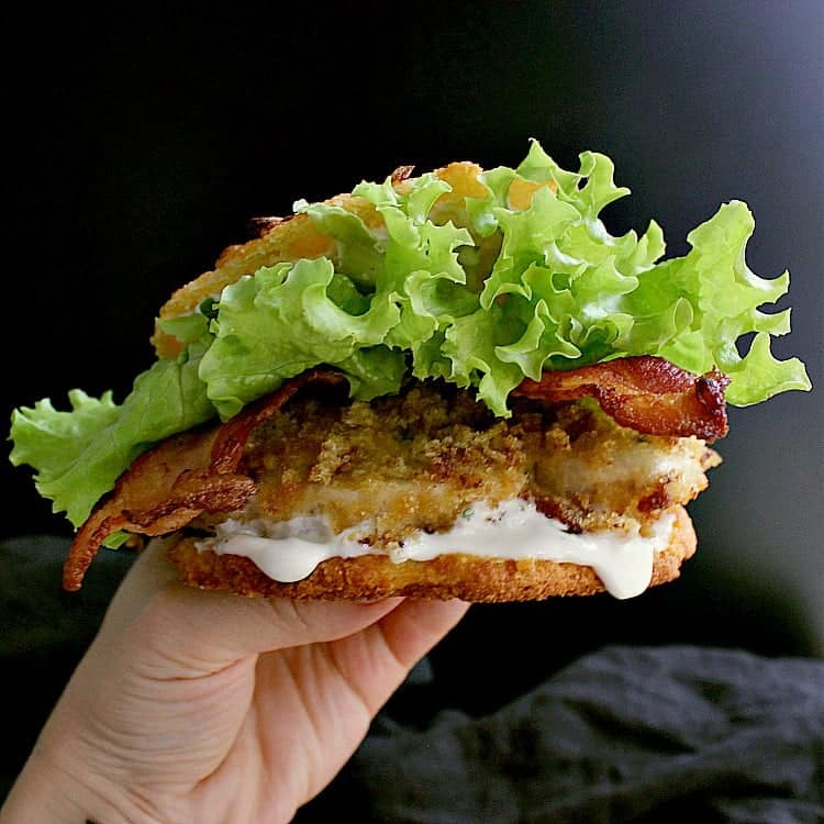 A Crunchy Low Carb Bacon Ranch Chicken Burger on a low carb onion bun.