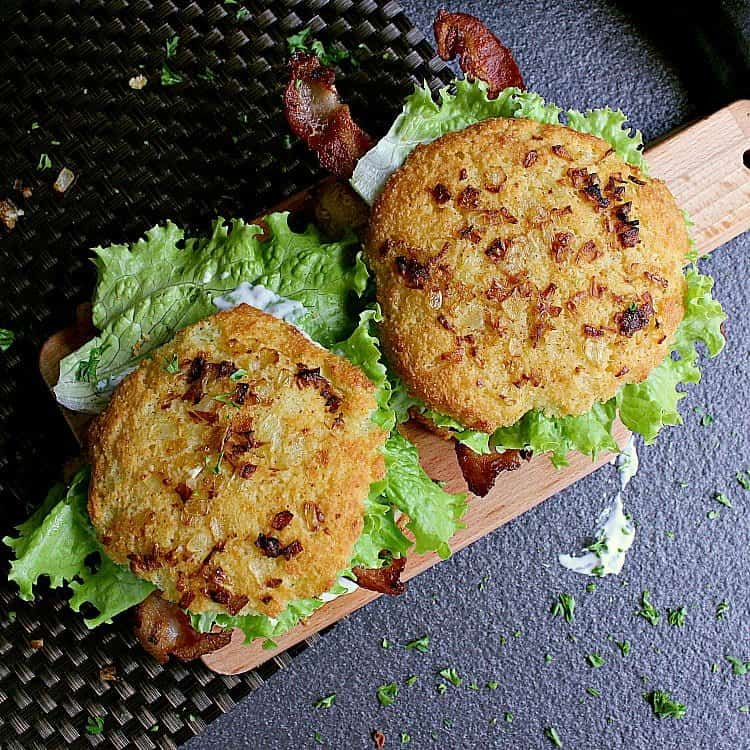 Top view of the chicken burgers, showing off the toasted onion from the top of the low carb onion buns.