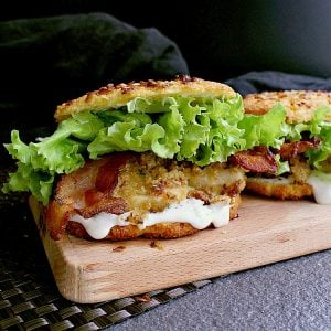 Low Carb Bacon Ranch Chicken Burger on a Low Carb Onion Bun.