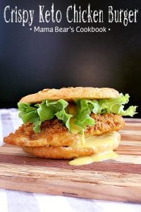 Pin this crispy keto chicken burger recipe for later!