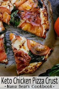 Pin this keto chicken pizza crust recipe for later!