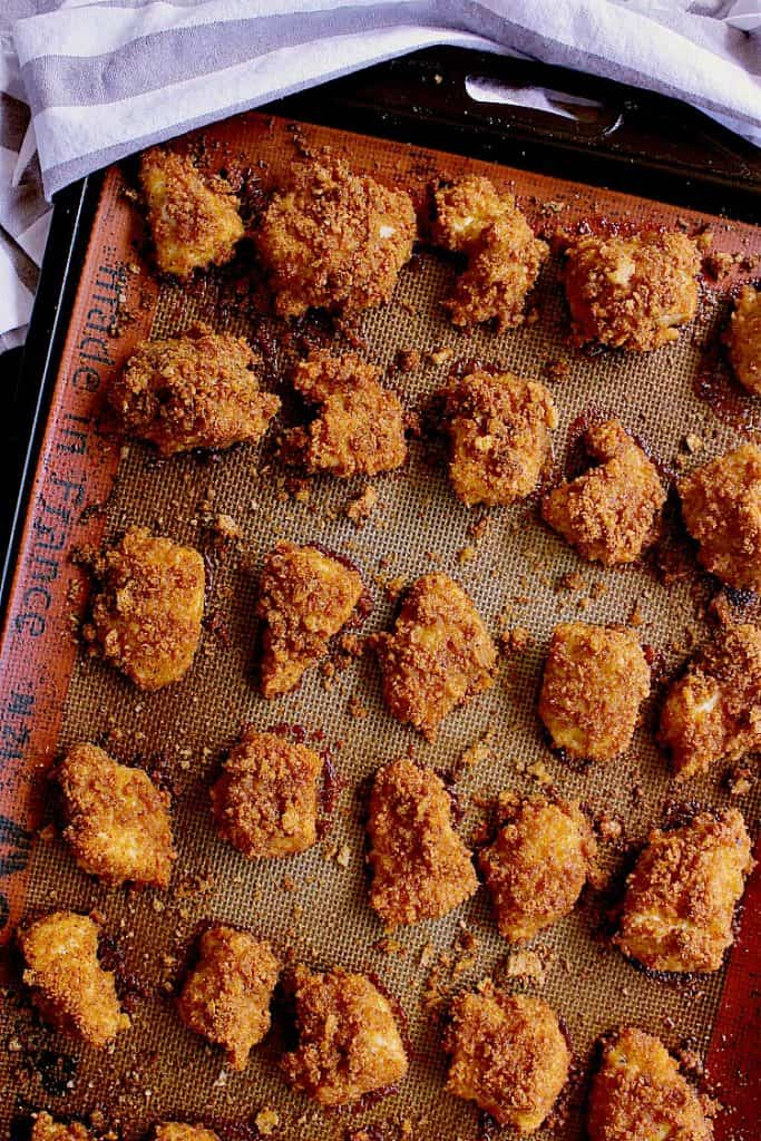 Baked low carb chicken nuggets.