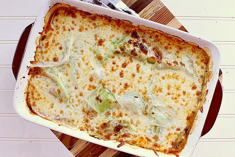 Freshly baked cabbage lasagna.