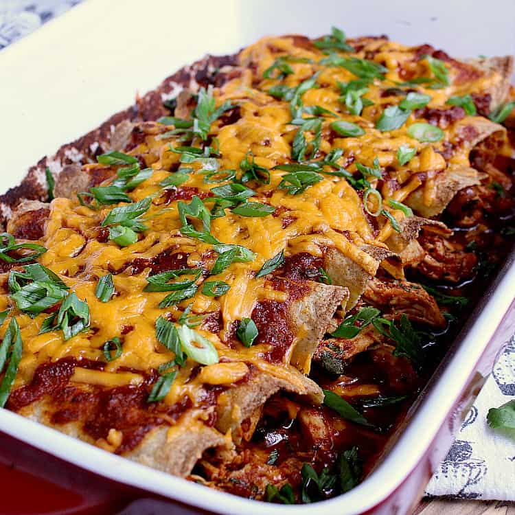 Baking dish with keto chicken enchiladas.