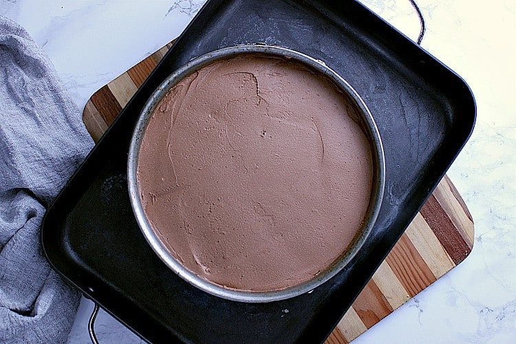 Keto chocolate cheesecake all ready for the water bath.