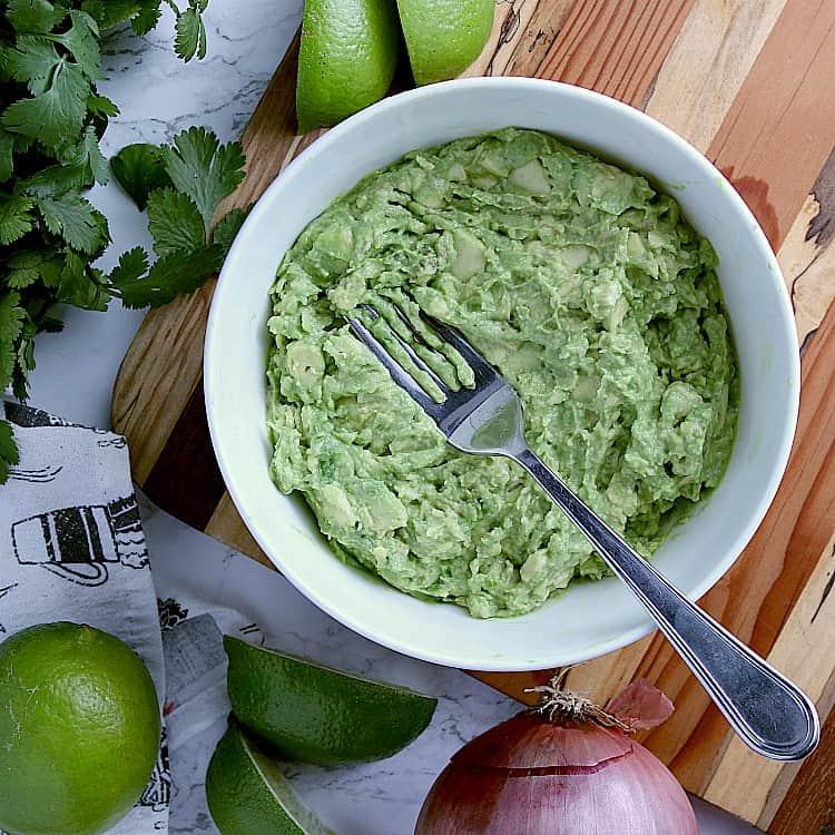 bowl of mashed avocado