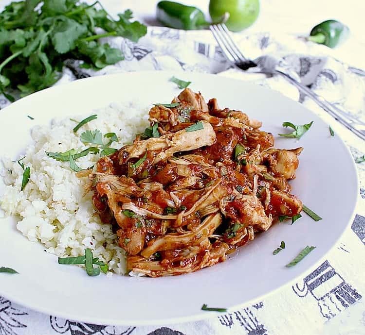 Bowl of salsa bbq chicken thighs with cauliflower rice.
