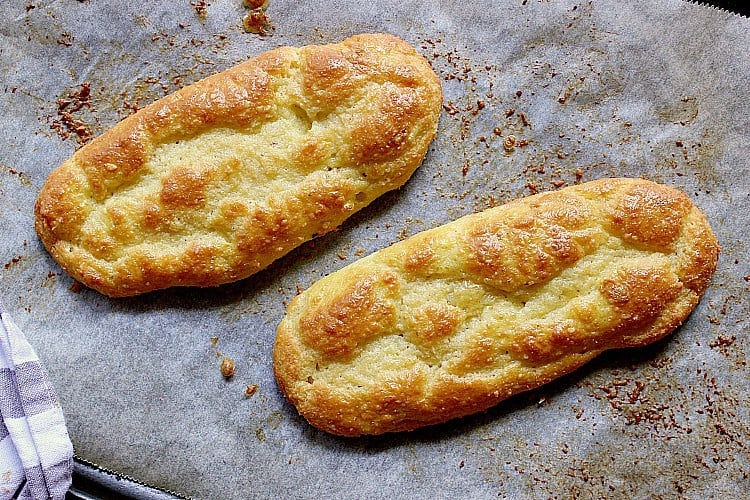 Baked keto sub buns.