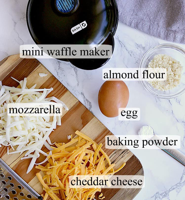 All ingredients used to make keto chaffles.