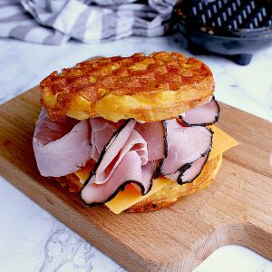 chaffle sandwich with ham and cheese.