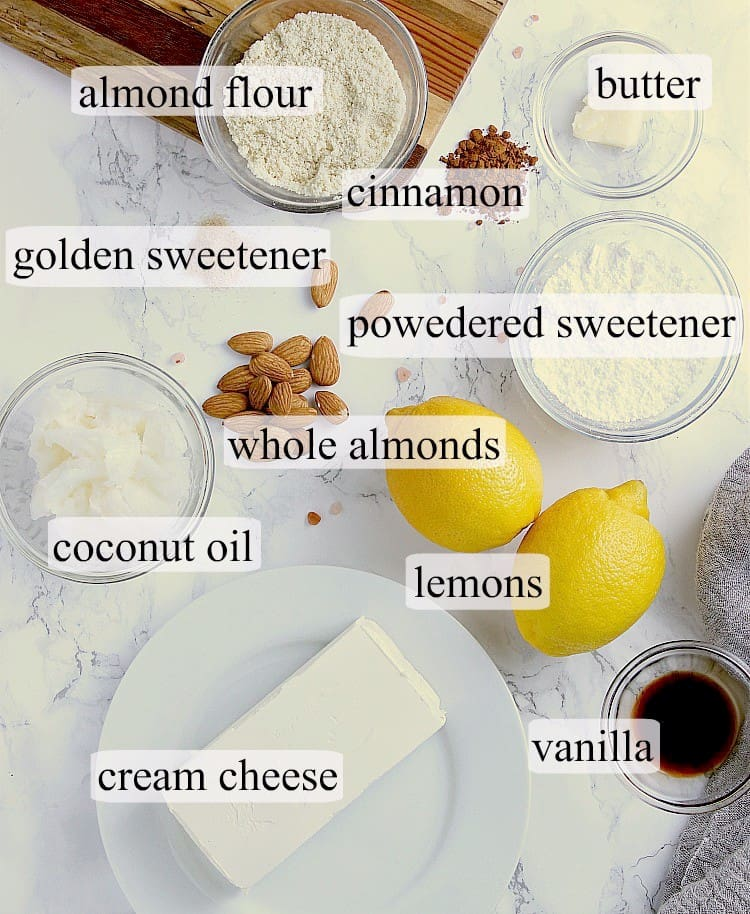 All ingredients used in this Lemon Fat Bomb recipe.