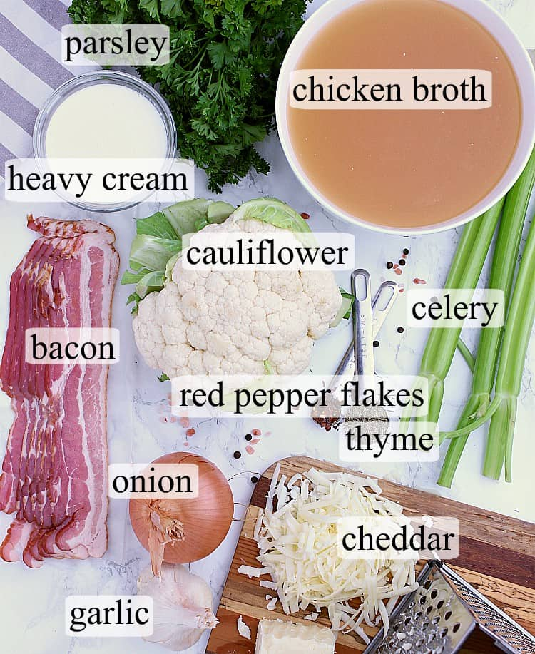 All ingredients used in this Creamy Keto Cauliflower Soup with Bacon and Cheddar.