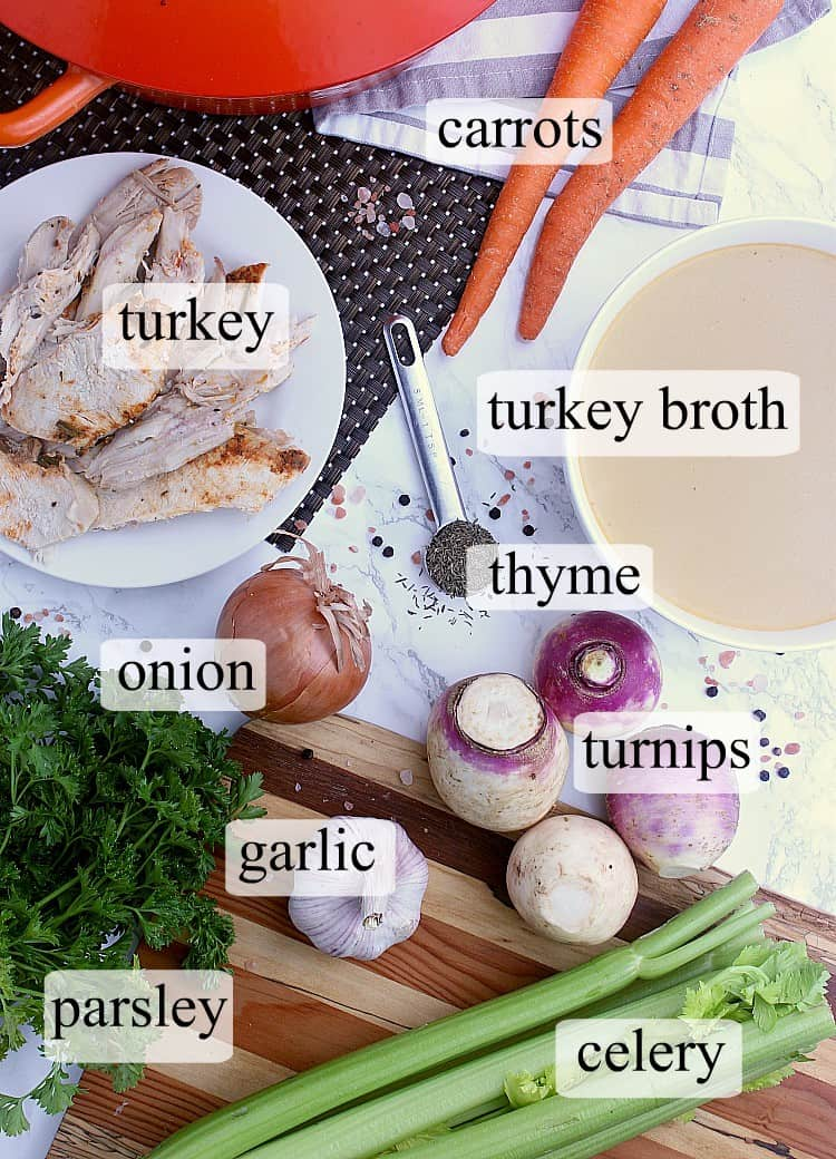 All ingredients used in this Keto Turkey Soup recipe.