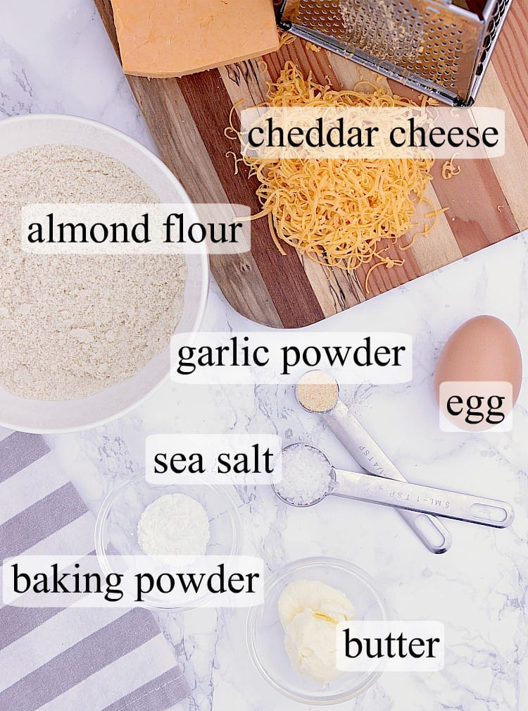 All ingredients used in this Keto Crackers recipe.