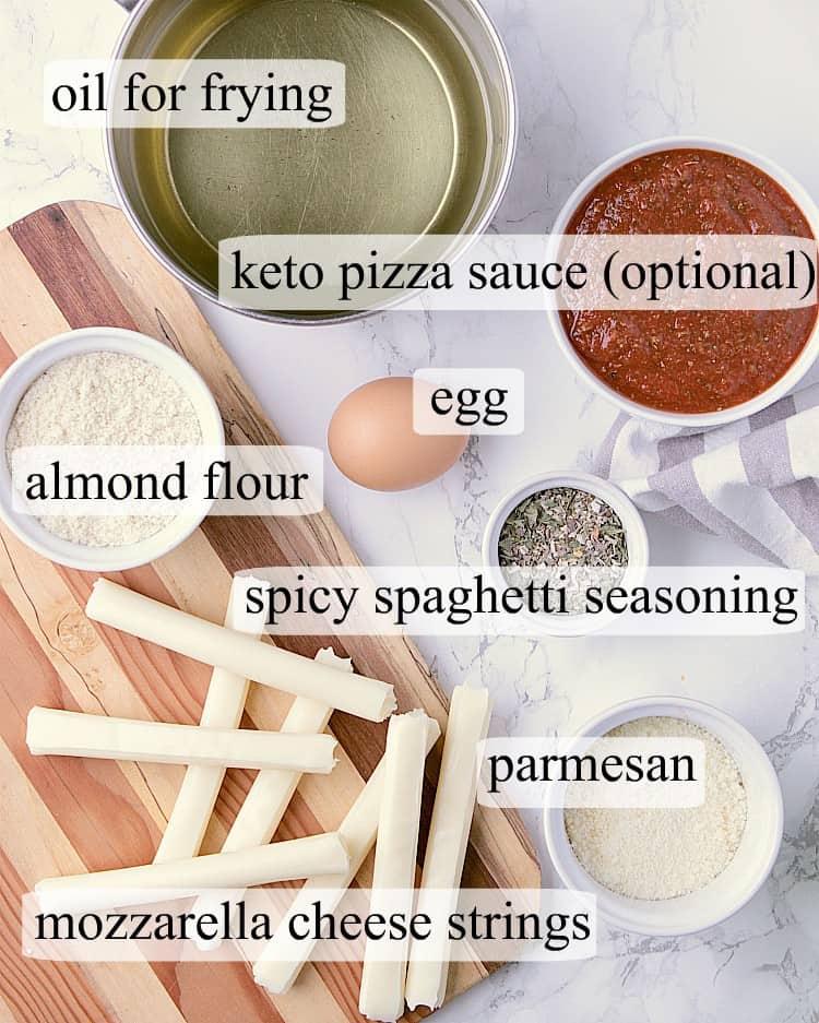 All ingredients used in this Keto Mozzarella Sticks recipe.