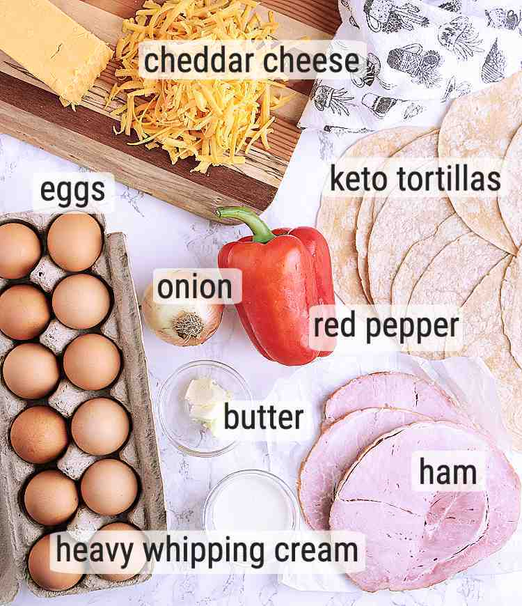 All ingredients used in this Keto Breakfast Burrito recipe.