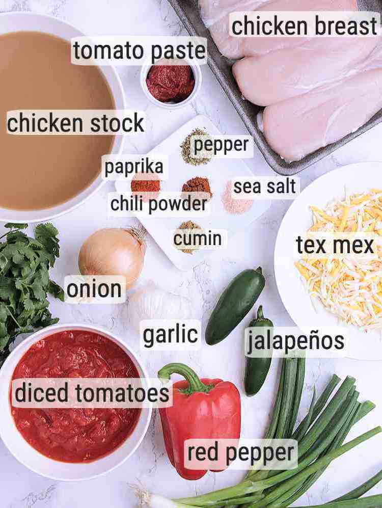 All ingredients used to make Keto Chicken Tortilla Soup.
